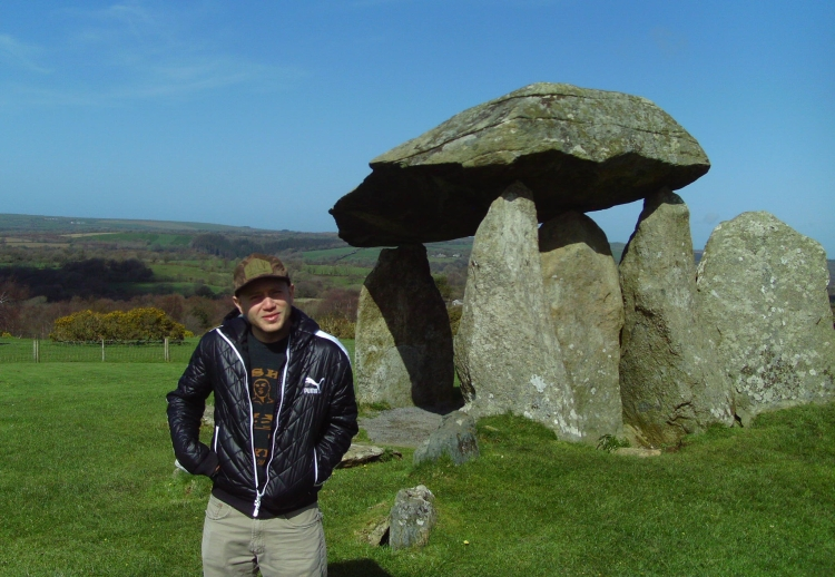 A familiar face shows the size of one of the 3,000 year old megaliths that are still standing